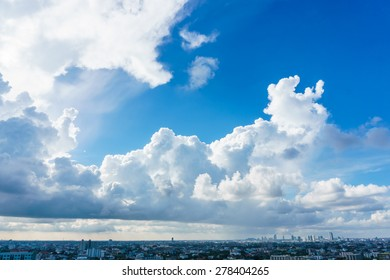 Big skies over cityscape in Bangkok Thailand, blue sky with clear cloud