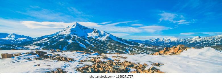Big Sky Montana Mountaintops Panoramic