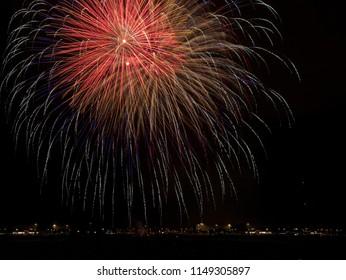 big skyrockets in front of dark sky while spectacular aerial fireworks
