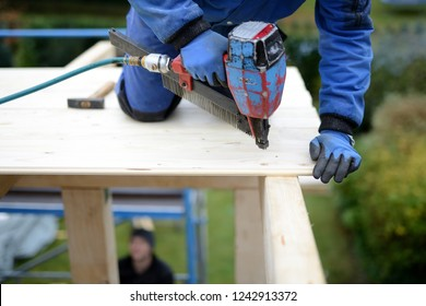 big slider: carpenter man with compressed air nailer, pneumatic nagler