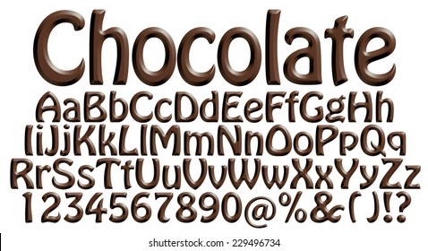 Big and small letters of the alphabet with digits made from chocolate syrup are isolated on a white background