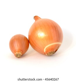 Big and small onions with peel isolated on white background