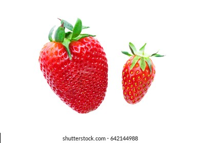 Big and small ripe red strawberry on a white background. Isolated