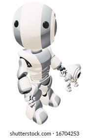 A big and small robot holding hands. The large robot is looking up past the viewer.