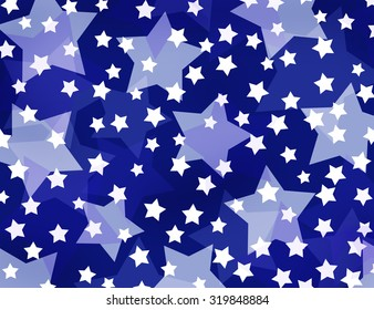 big and small stars on deep blue background