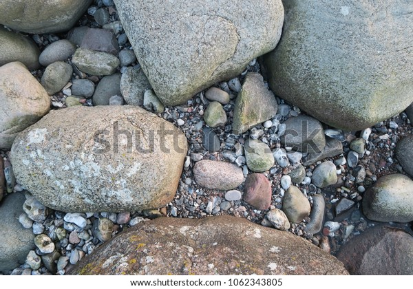 big and small stones at the beach