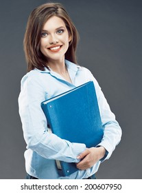 Big smile Business woman Studio Portrait. Blue paper folder.