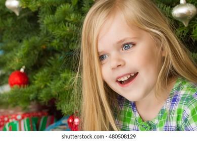 Big smile at christmas after she woke up