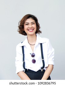 big smile face from attractive asian lady on blank background. Happy people action with healthy face with good.