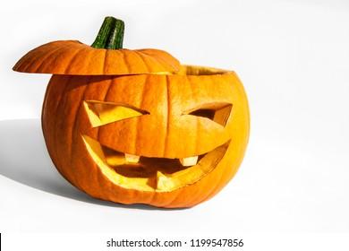 Big Smiling Halloween Pumpkin with Open Head
