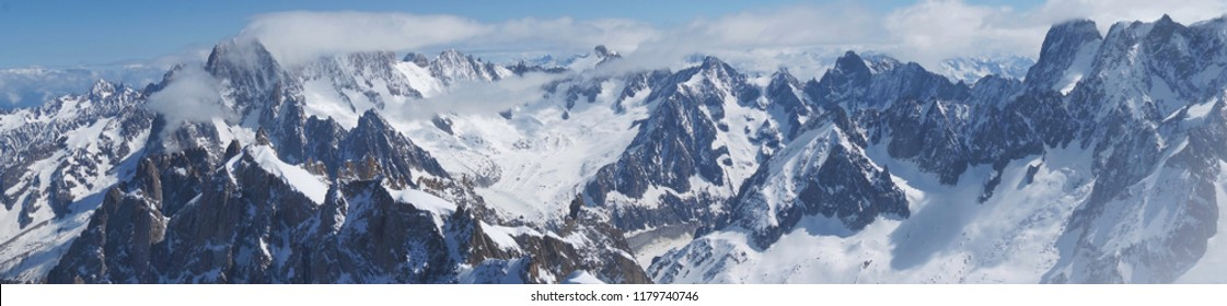 Big snow mountain view in summer of Chamonix