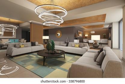 Big Space Of A Presidential Suite 3D Rendering