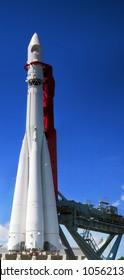 Big space rocket  at launching platform