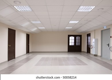 The big spacious hall which has been laid out by a tile
