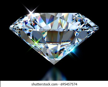 Big sparkling colorful round cut diamond standing on its point, close-up side view isolated on black background. 3D rendering illustration