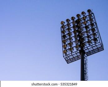 A big spotlight at the soccer stadium.