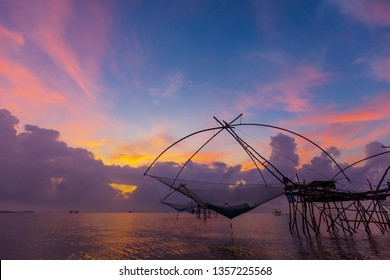 Big square dip net in south of Thai sea, traditional style fish trap for food and native life style of fisherman.