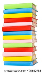 Big stack of books in hard cover, view from back, isolated