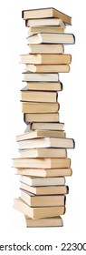 Big stack of books isolated on white background