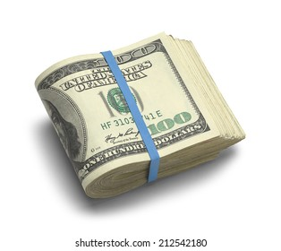 Big Stack of Folded Hundred Dollar Bills Isolated on White Background.