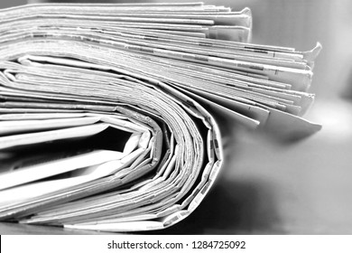 Big Stack of Newspapers, Close Up