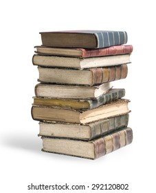 Big stack of old, antique books on white background clipping path