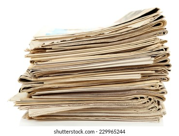 Big stack of papers, isolated on white