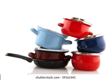 Big stack with pots and pans isolated over white