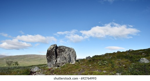 Big stone with rift in Lapland, Malla National Reserve