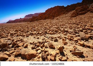 Big Stones in Sand Hills of Israel, Sunrise