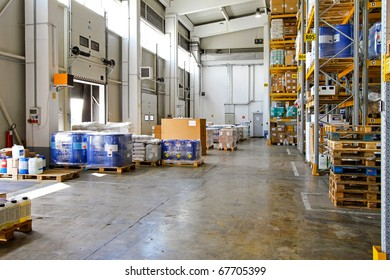 Big storehouse interior with merchandise for distribution