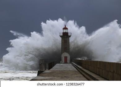 Big storm near a lighthouse