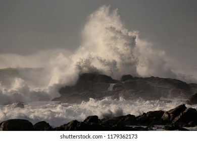 Big stormy breaking waves. Late evening  light.