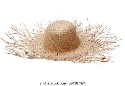 Big straw hat isolated on white background