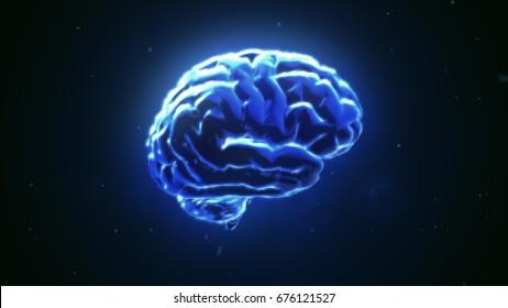 Big strong brain pulsing in blue 3d illustration