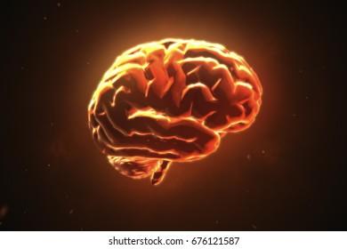 Big strong brain pulsing in orange 3d illustration