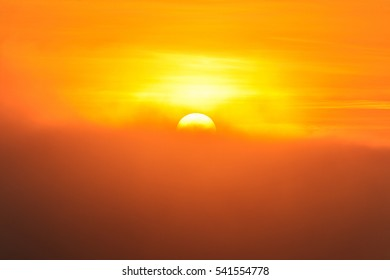 Big sun and Mist in sunrise,Morning,White balace orange on sunrise