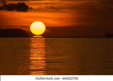 Big sun on sunrise in the morning
