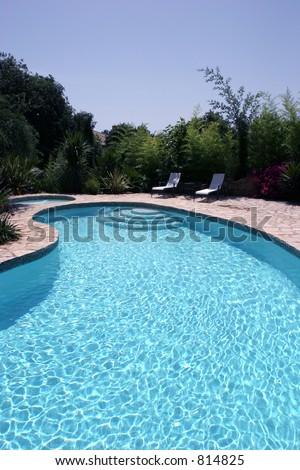 Big Sunny Kidney Shaped Swimming Pool Stock Photo (Edit Now) 814825 ...
