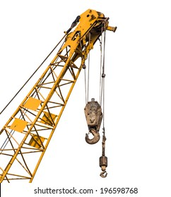 Big supper yellow construction crane for heavy lifting isolated cut on white background