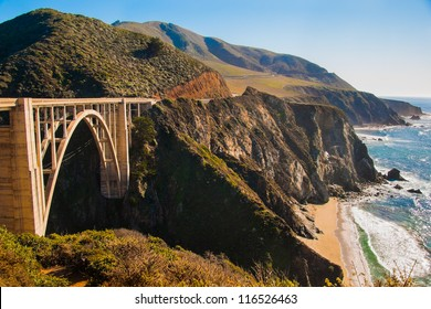 The Big Sur and its rocky coastline on a bright beautiful day