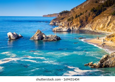 Big Sur is a sparsely populated region of the central California  Coastline along State Road 1