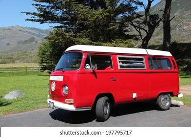BIG SUR, UNITED STATES - APRIL 7, 2014: VW Transporter T2 parked in Big Sur, California. The famous mini bus was manufactured for almost 64 years in 1949-2013.