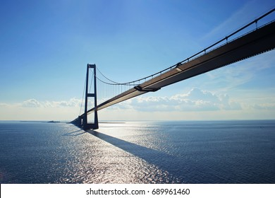 Big suspension bridge between Denmark and Sweden on Baltic sea