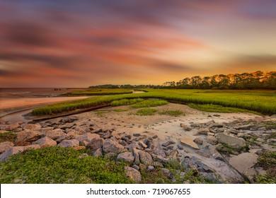 Big Talbot Island, Florida. Nassau County. Sunset on the salt marshes.