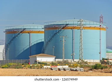 Big tanks uses to store fuel in a power plant