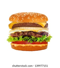 Big tasty cheeseburger isolated on white background
