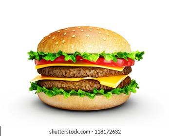 big tasty hamburger isolated on a white background