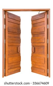 Big teak wooden door in luxury villa isolated on white background