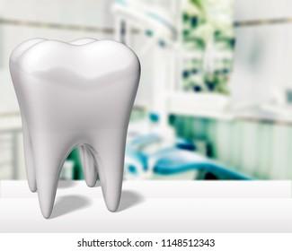 Big teeth on hospital background